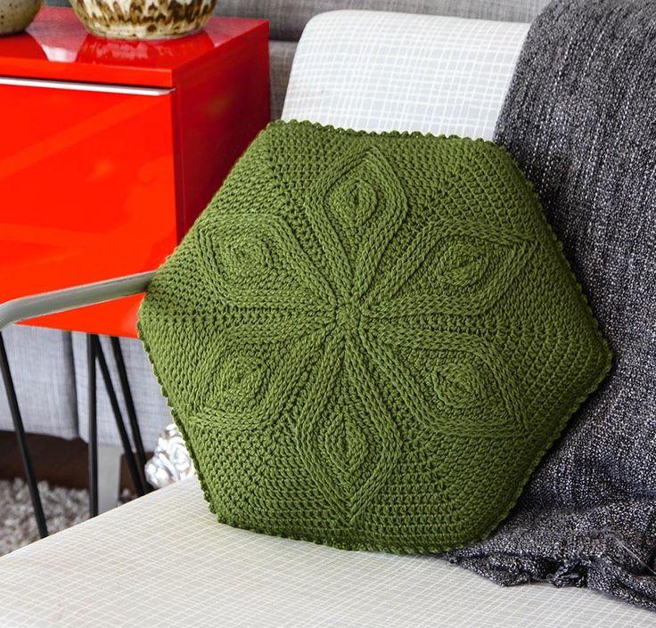 Hexagon Flower Pillow by Linda Permann Crochet Kit - None