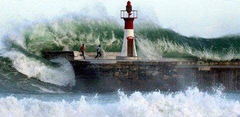 Kalk Bay - winter 2005 - the wave swept the two people off the jetty, both were rescued.