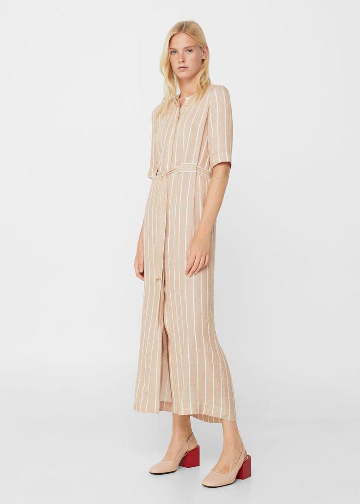 Lniana sukienka w pasy | MANGO
