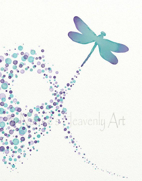 Purple Aqua Dragonfly Wall Art Girls Nursery by NaturesHeavenlyArt