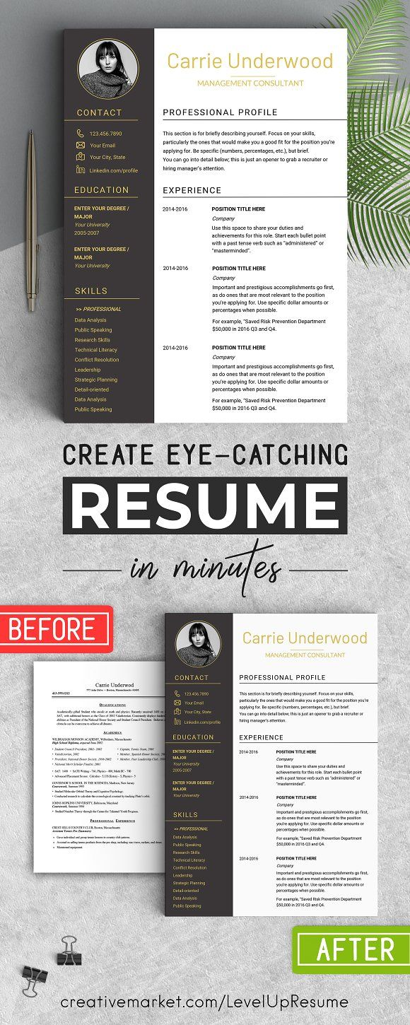 Eye Catching Resume Templates Modern Resume Template With Photolevelupresume On