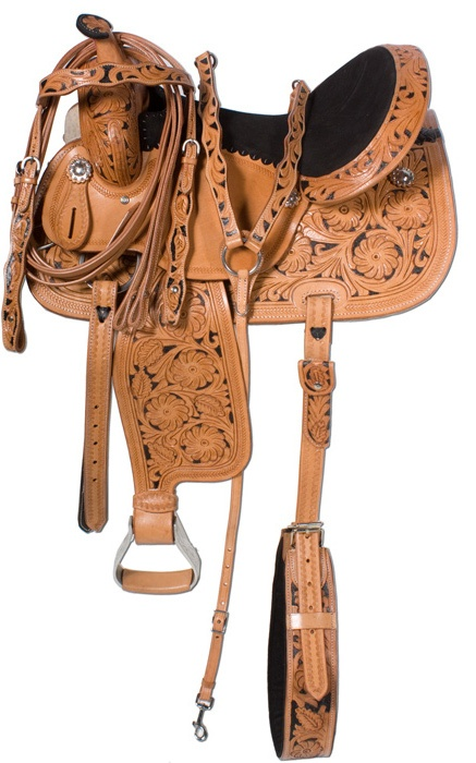 Hand Carved Leather Barrel Racing Saddle Hand Painted 14 16