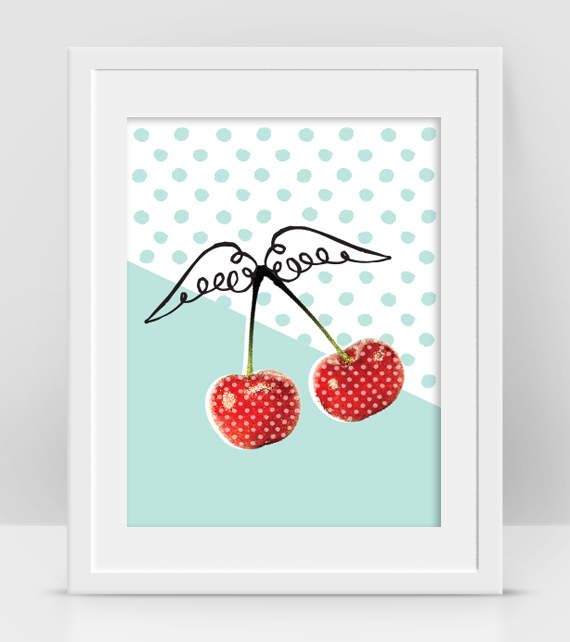 Cherry Fruit, Fruit Art, Red Cherry Print, Retro Kitchen Wall Art, Dorm Room Decor, Polka Dots, Modern Pop Art by InogitnaDesigns #etsy #fruitart #kitchenwallart #polkadots #retroposter