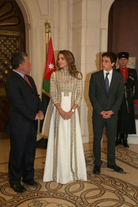 queen Rania with Palestinian embroidery costume .. cross stitch