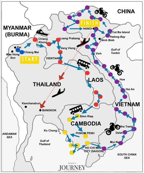 Ultimate Southeast Asia Route   http://www.makeajourney.co/southeast-asia-itinerary-laos-cambodia-vietnam/  Starting from Thailand > Laos, Cambodia, Vietnam