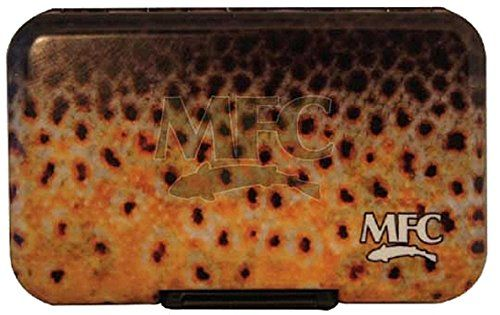 MFC Plastic Fly Box, Brown Trout  http://fishingrodsreelsandgear.com/product/mfc-plastic-fly-box-brown-trout/  Perfect size for easy in and out of vest pockets and fishing jackets. Hard plastic that will float clasp fastener so the box will stay closed until you open it.