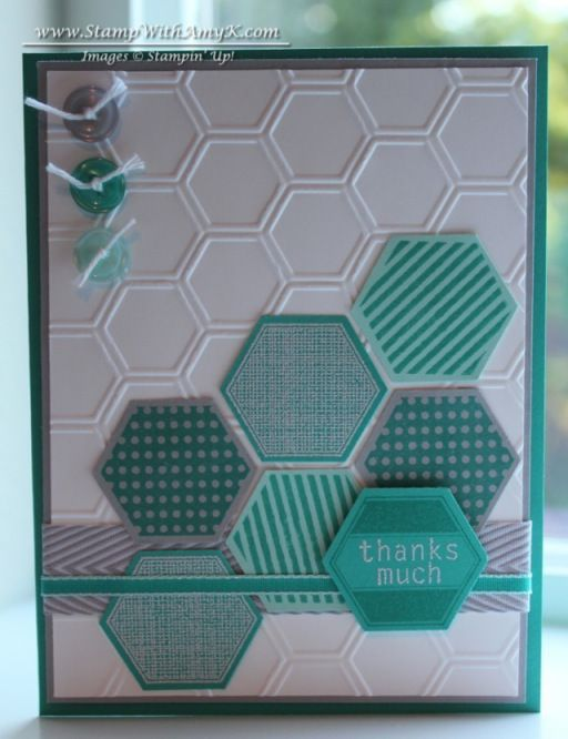 Six-Sided Sampler--like how she has the larger hexagons with the smaller embossed hexagons