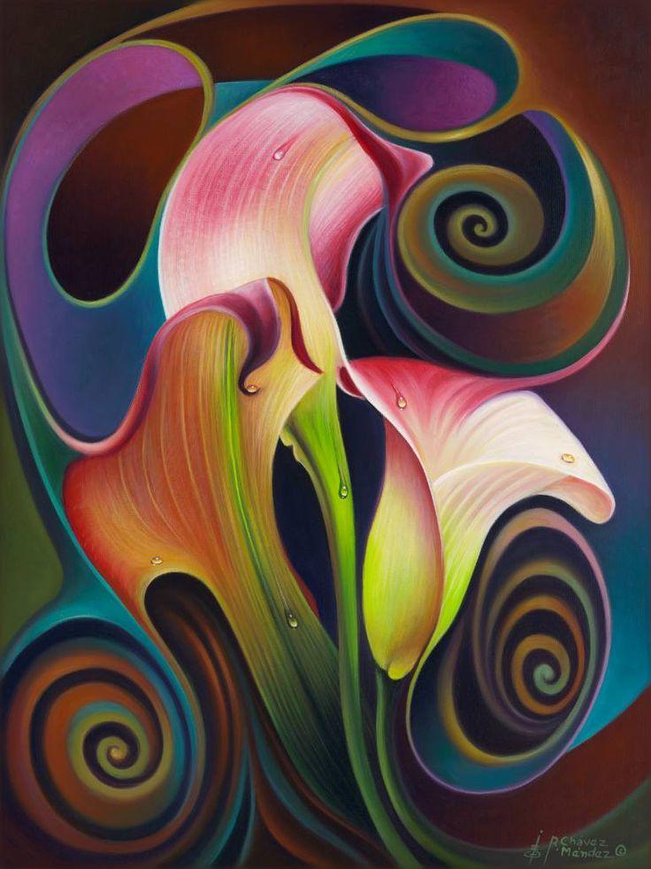 "Saatchi Art Artist Ricardo Chavez-Mendez; Painting, ""Dynamic Floral IV (Calalillies)"" #art"