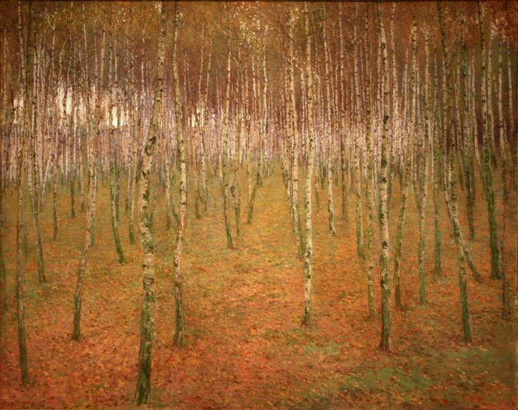 Antonín Slavícek (Czech 1870–1910) [Impressionism] Birch Mood, 1897. Oil, canvas, 91.5 x 114.5 cm, National Gallery in Prague.