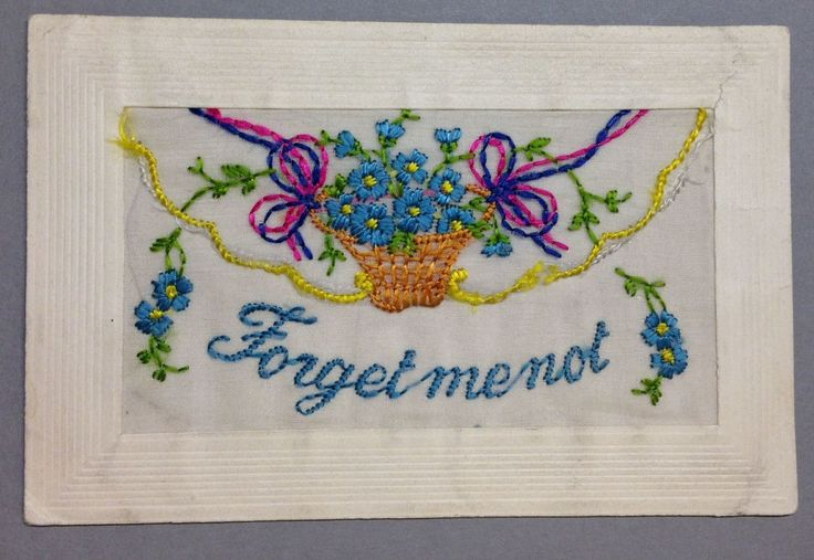 """WW1 Silk Postcard """"Forget me not"""" basket of flowers forget-me-nots"""
