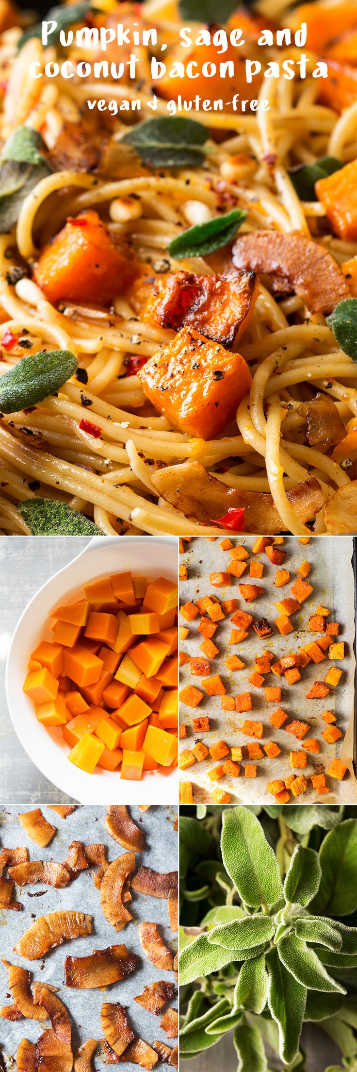 #pumpkin #sage and #coconutbacon #pasta - #easy to make, filling, naturally #vegan and can be #glutenfree  #recipe #recipes #vegetarian #lunch #dinner #meal #entree #spaghetti