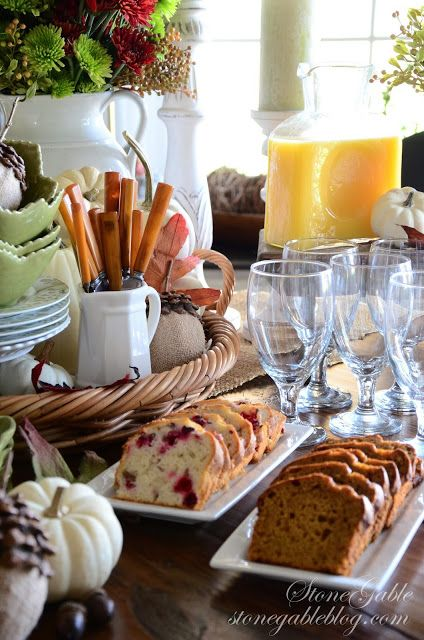 THANKSGIVING CONTINENTAL BREAKFAST VIGNETTE: OJ in pitcher; Coffee; Breads, Pumpkin & Orange Cranberry; flavored Butters & Cream Cheese; assorted flavors of Stonefield Greek Yogurt; Granola; Hard Boiled Eggs; Fruit, clementine oranges & Granny Smith apples. (Tea, sugar, lemon wedges & cream would also be nice.  Also, if not mixing the granola with the yogurt, have skim milk out.)