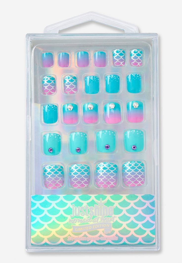 Just Shine Mermaid Press On Nail Set In 2019 Fake Nails For Kids Nails For Kids Press On Nails