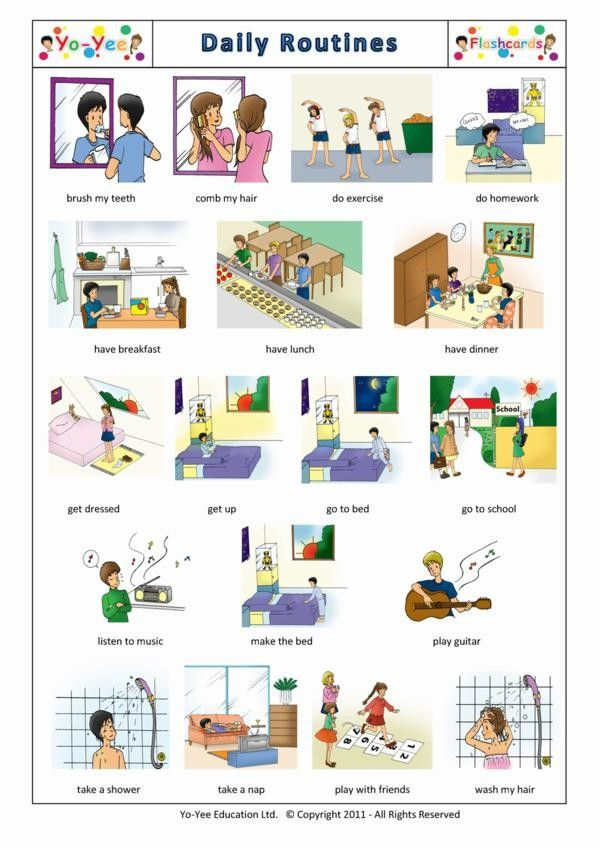 Daily Routines Flashcards for autistic children