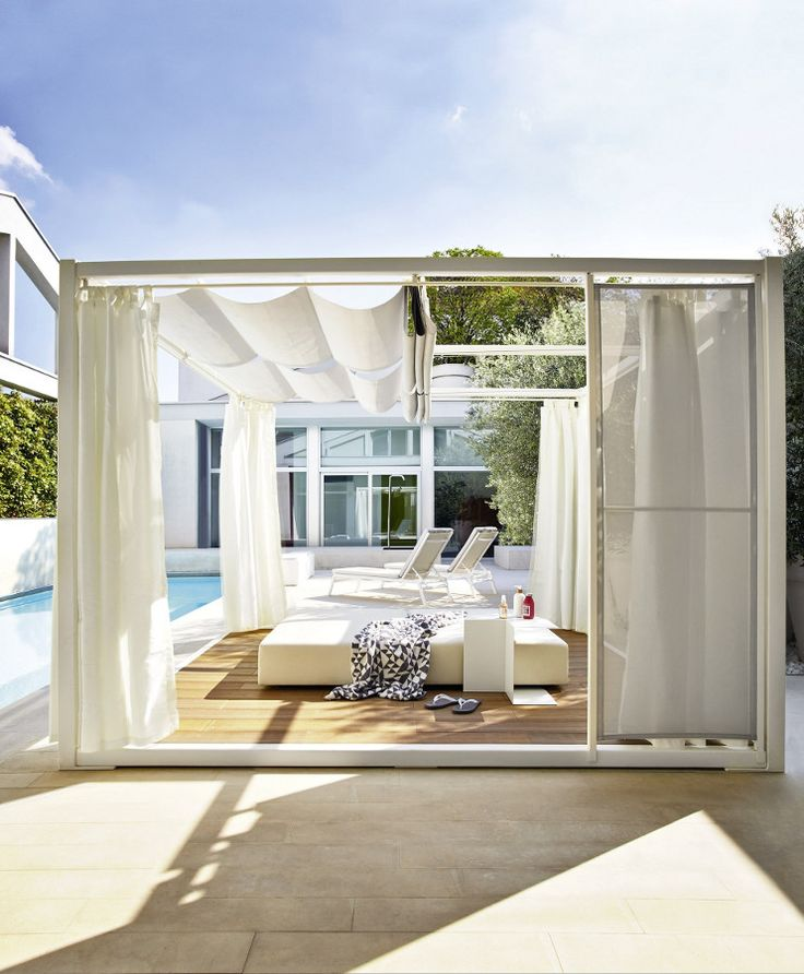 Outside Translucent Curtains Aluminium And Wood Gazebo PAVILION By Varaschin