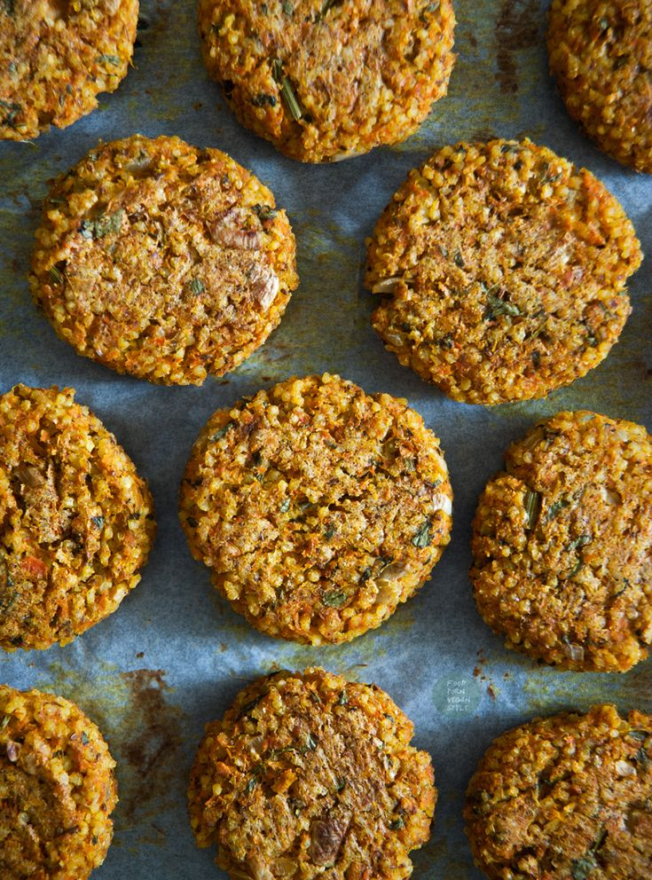 Baked millet-carrot patties (made with the carrot pulp from juicing)