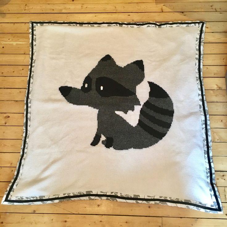 Couverture en tricot doublée en tissus, pour ma filleule