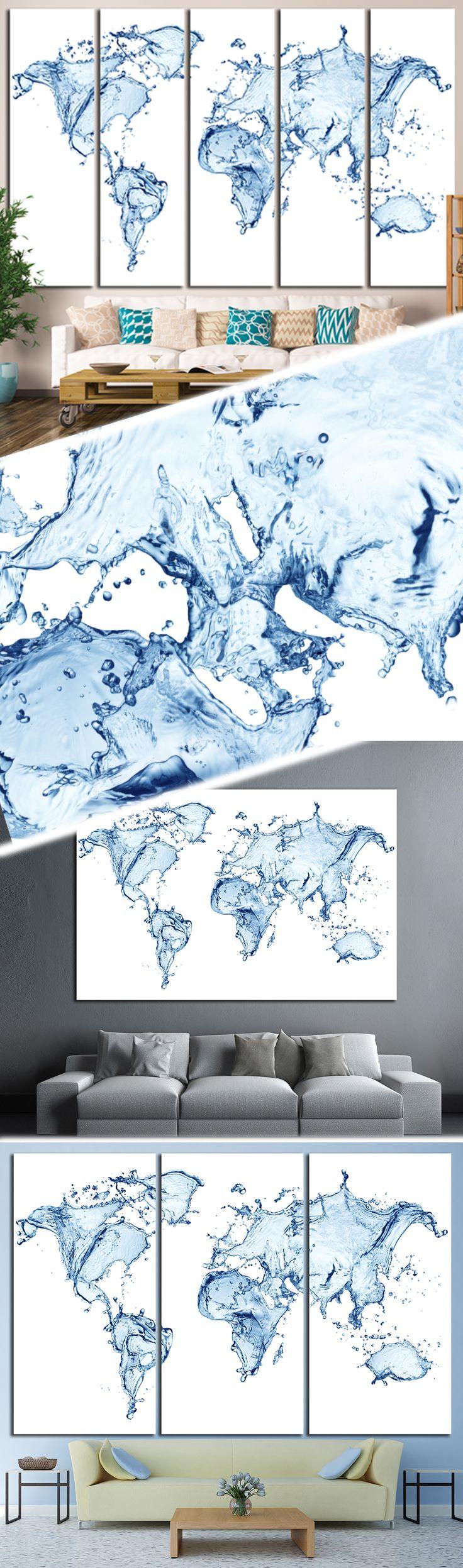 Water Splashes World Map 1452 Canvas Print