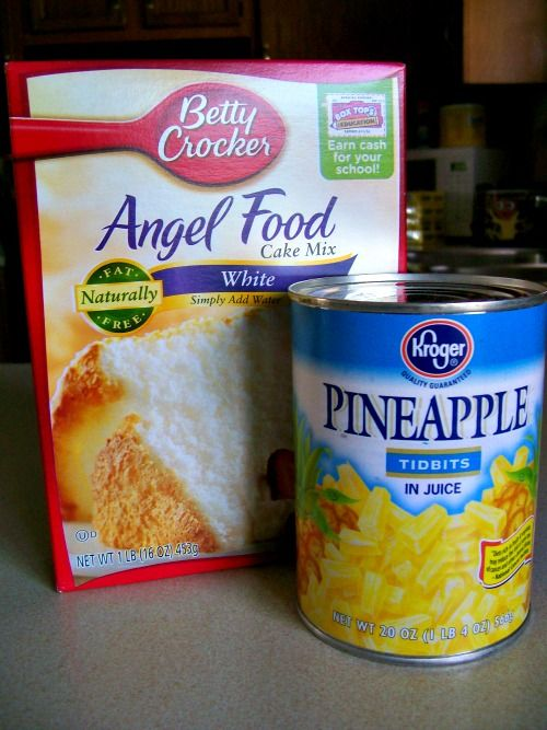 Pineapple Angel Food Cake   Prep time:  5 mins Cook time:  30 mins Total time:  35 mins   Serves: 8-10      Ingredients  1 box Angel Food Cake Mix   1 can crushed pineapple, do not drain     Instructions  Preheat oven to 350.   Mix cake mix and pineapple in large bowl by hand.   Pour into an ungreased 13X9 pan.   Bake for 28-30 minutes.   Cool on wire rack.   Serve.