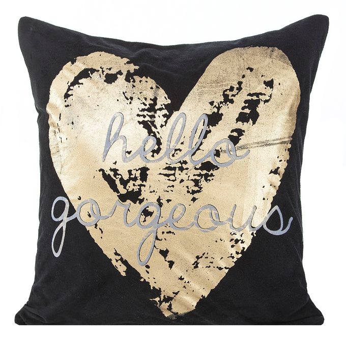 Złote serce poszewka dekoracyjna w kolorze czarnym