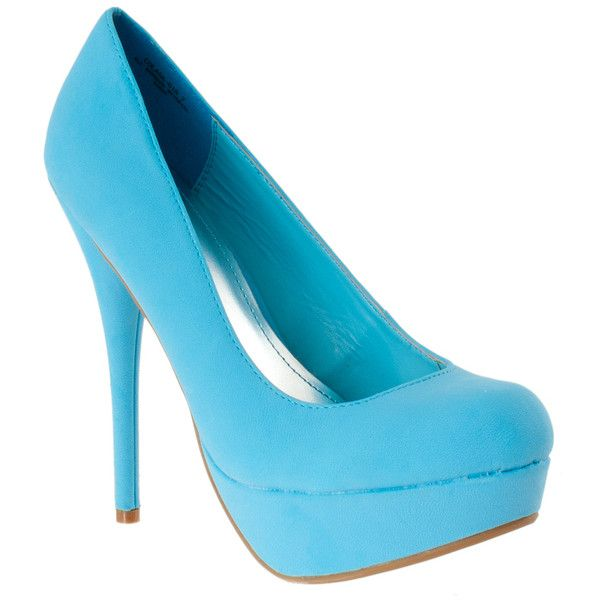Riverberry Women's 'colada' Round Toe Platform Stilettos ($30) ❤ liked on Polyvore featuring shoes, pumps, heels, pumps & heels, stiletto pumps, blue high heel shoes, high heels stilettos, heels & pumps and blue shoes