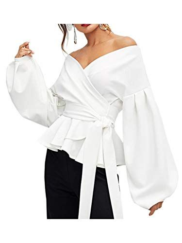 968f8b9a45b6e DEEBAI Women s Elegant V Neck Puff Sleeve Tunic Tops Belted Wrap Dressy  Blouse (White