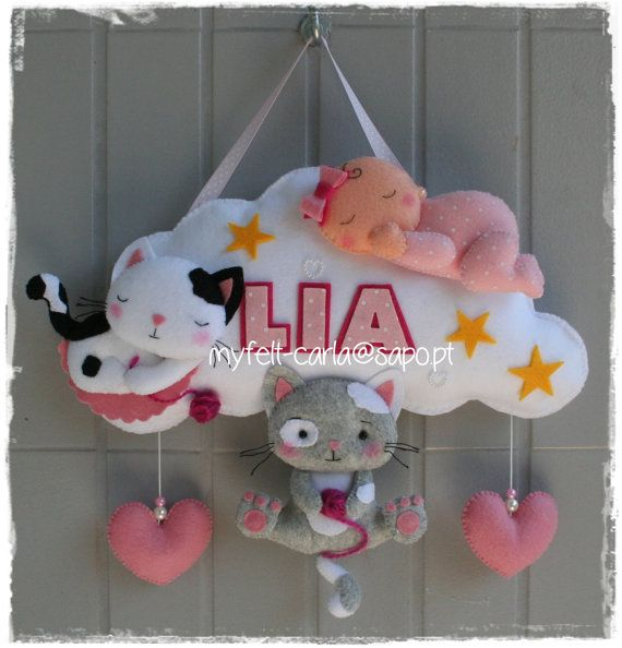 Hanging Mobile Baby Mobile Cats and Cloud by feltcutemobile
