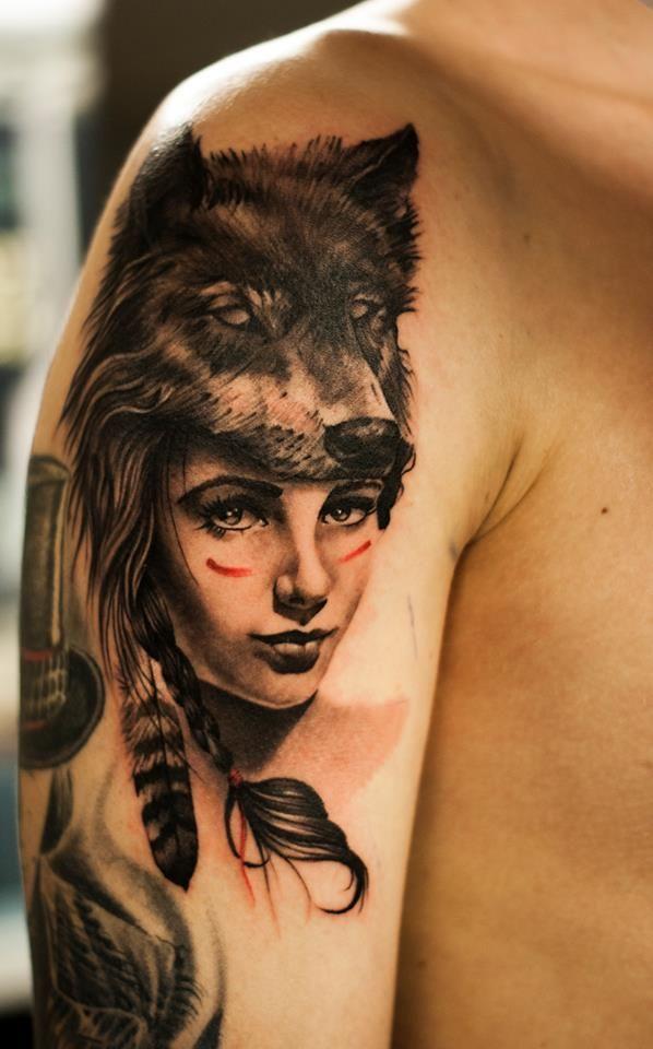 37a3a24a1 Female shaman (?) with Wolfcowl made by Oscar Akermo, Tattoo Studio 73,  Uddevalla, Sweden | Cen | Native american tattoos, Cool arm tattoos, ...