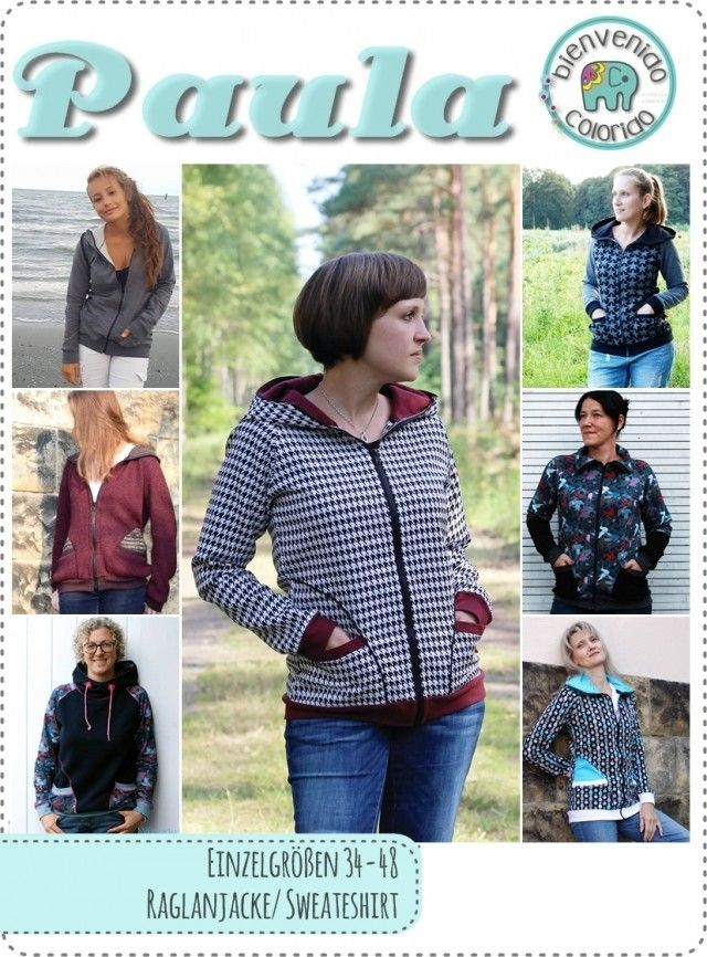 Paula, Raglanjacke/Sweatshirt mit Kapuze/Kragen, Kreativ-Ebook - farbenmix Online-Shop - Schnittmuster, Anleitungen zum Nähen