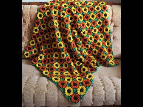 How to crochet daisy afghan blanket free easy pattern tutorial - YouTube