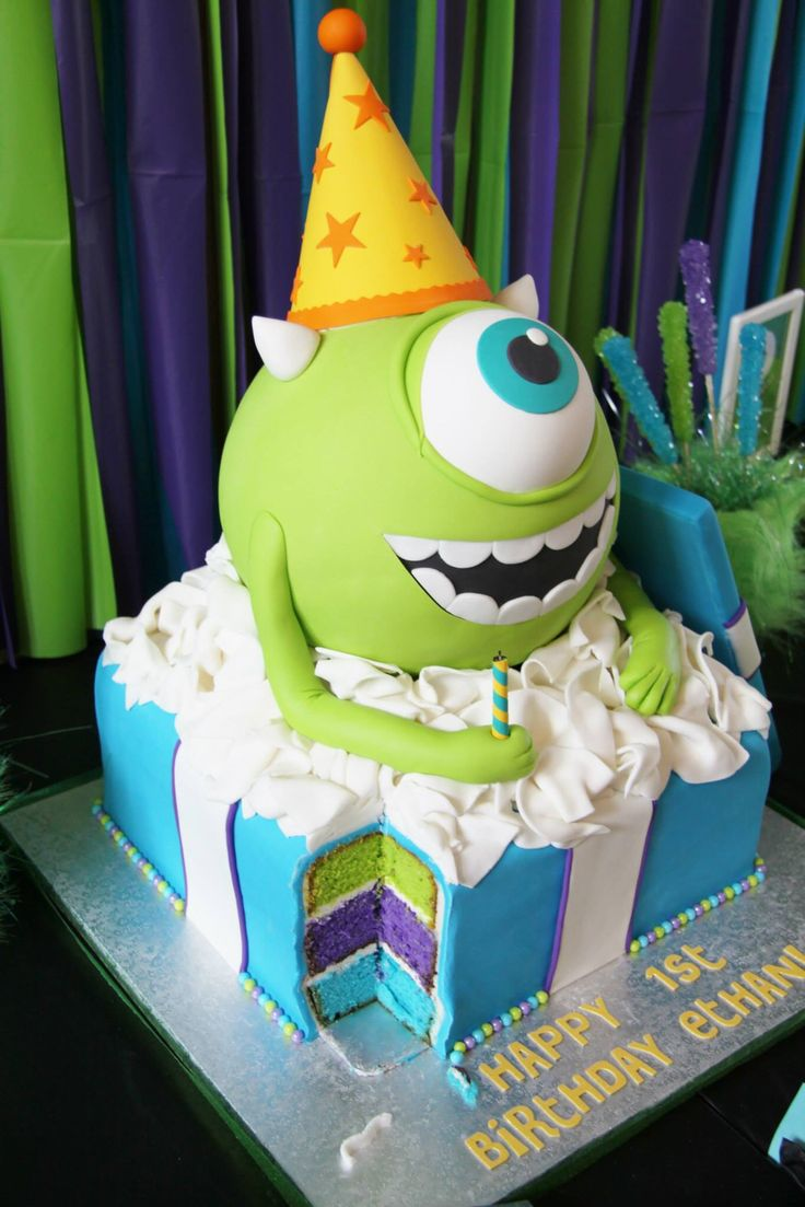 Monster's Inc. Mike Wazowski 1st Birthday Cake! Blue, Green and Purple Cake! By www.shookupcakes.com