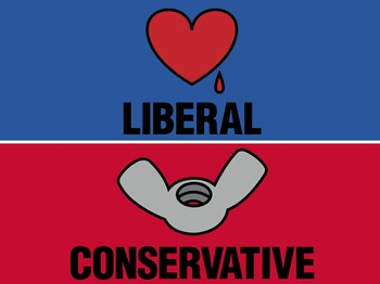 Bleeding Heart Liberal vs Wing Nut Conservative??? want tshirt made with this on it.
