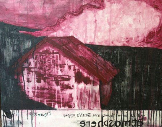 Red Atmosphere Painting Origional Print -- Khem Angel