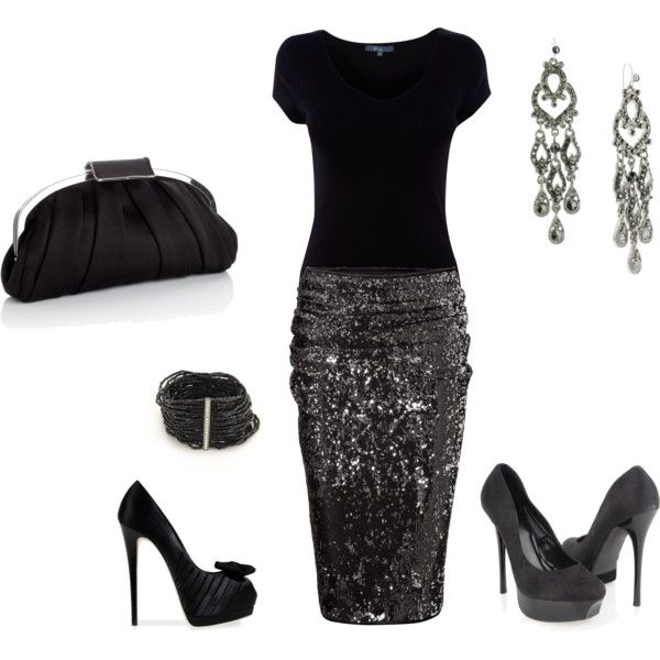 sparkle: Shoes, Date Night, Christmas Parties, Holidays Parties, Woman Fashion, Black Outfits, Clothing Style, Pencil Skirts, Woman Health