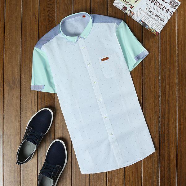Лето шлифа прохладно и комфортно с короткими рукавами рубашки мужские Sa Хуа Чи мужской моды свежие рубашки мозаики