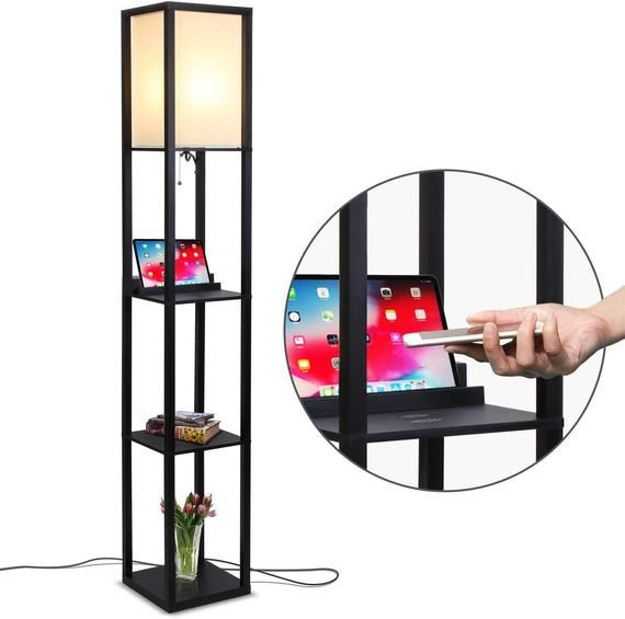 Brightech Maxwell Shelf Floor Lamp Wireless Charging Station Etsy In 2020 Floor Lamp With Shelves Tower Light Floor Lamp