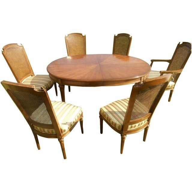 Image Of Vintage Henredon Walnut Dining Table With 6 Chairs