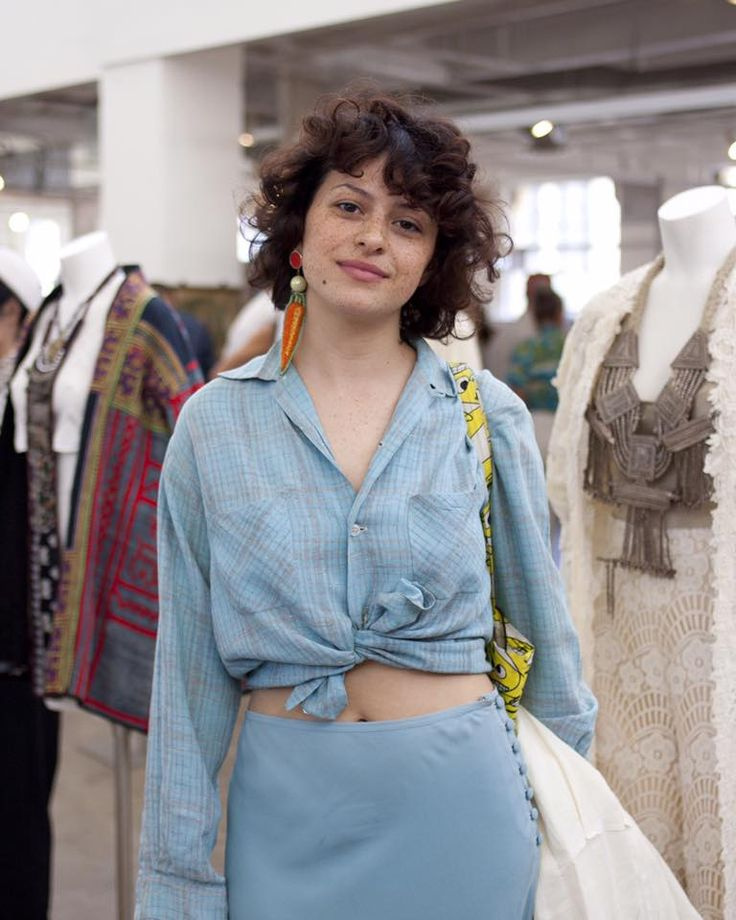 Tied up ➰ Cool girl blues demonstrated by Alia Shawkat during A Current Affair's spring show in Downtown LA. Photo by Lani Trock #acurrentaffair #bestvintageunderoneroof