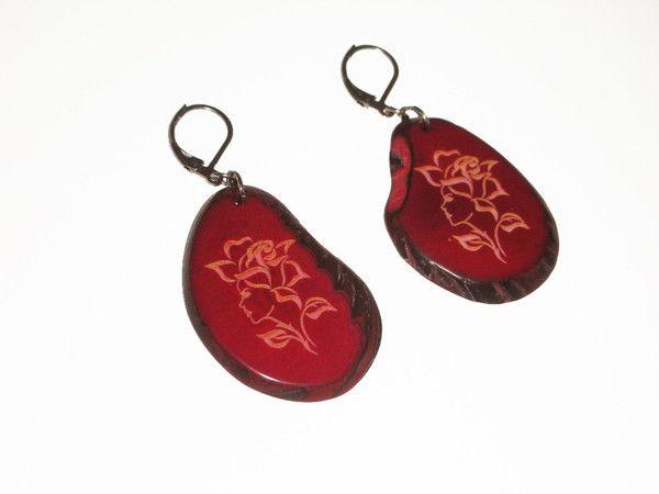 #handmade #organic #Red #jewellery #eco-friendly #earrings