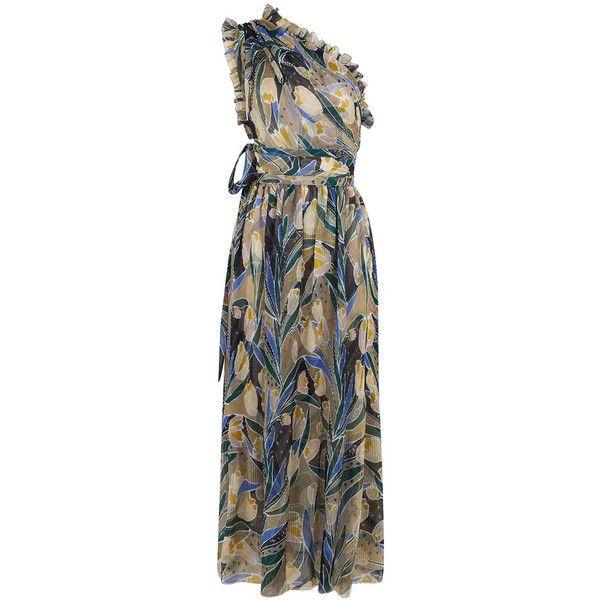 Rochas Multi Tulip Plissé One Shoulder Dress (£2,060) ❤ liked on Polyvore featuring dresses, floral print cocktail dress, one shoulder dress, floral cocktail dresses, midi cocktail dress and party dresses