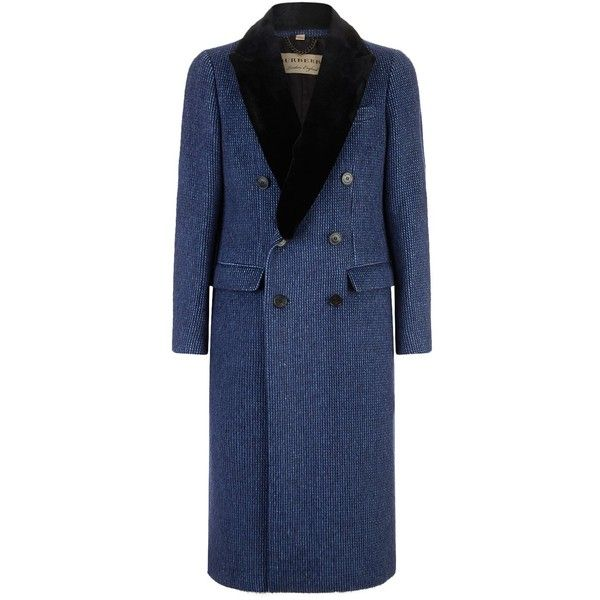 Burberry Wool and Cashmere Car Coat ($3,360) ❤ liked on Polyvore featuring men's fashion, men's clothing, men's outerwear, men's coats, mens double breasted coat, men's wool car coat, burberry mens coat, mens fur collar coat and mens wool coats