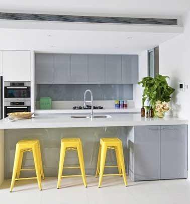 Quelle couleur mettre avec une cuisine grise cuisine cuisine gris cuisine jaune et - Quelle couleur mettre dans une cuisine ...
