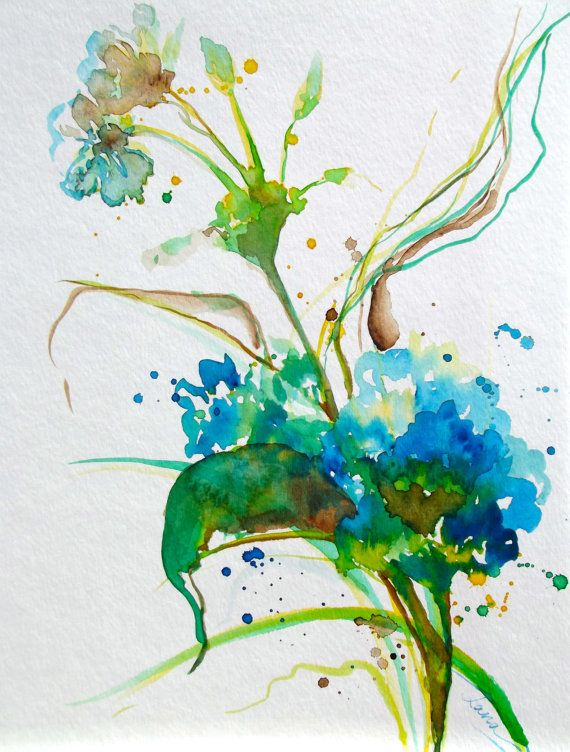 Watercolor Painting Abstract Floral Original Art