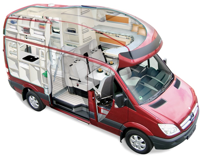 Mercedes Sprinter Rv For Sale >> Cutaway view of the Westfalia James Cook Sprinter motorhome.   Overlander deluxe   Pinterest ...