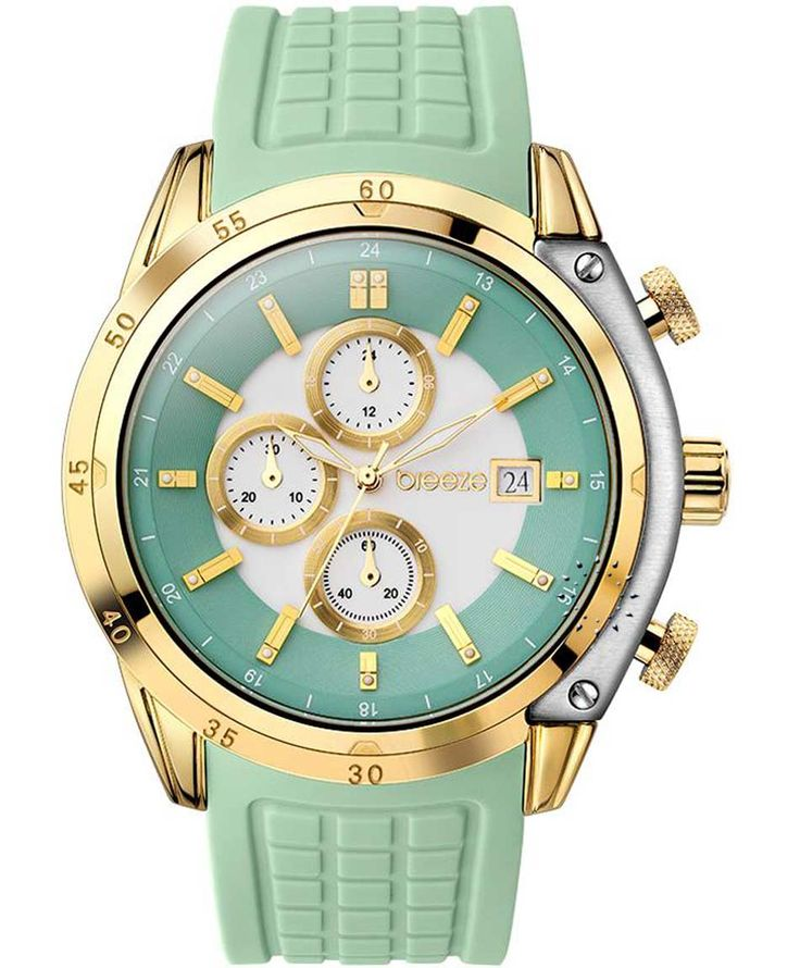 BREEZE Stylish Tech Chrono Green Rubber Strap Τιμή: 170€ http://www.oroloi.gr/product_info.php?products_id=35263