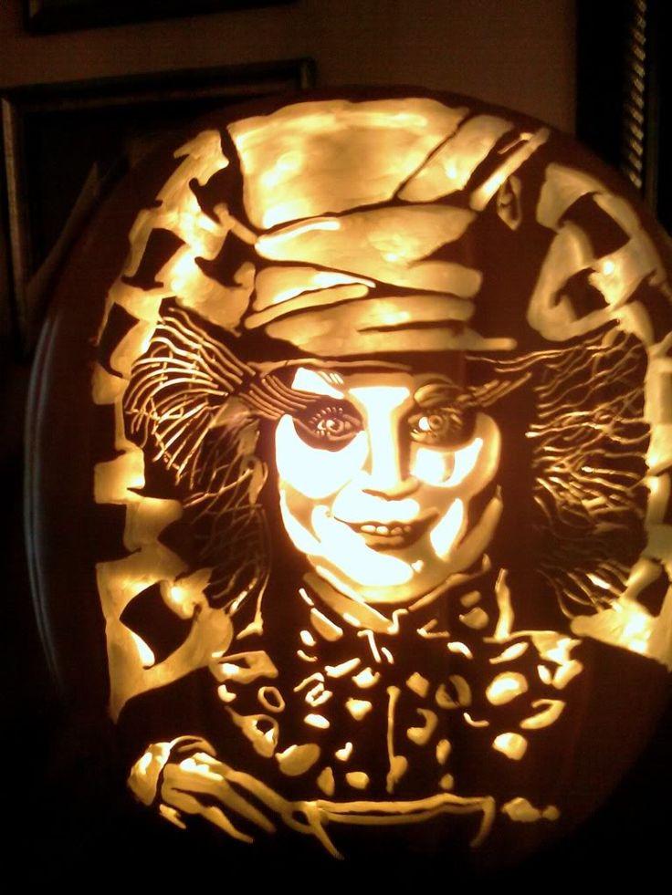 Alice in Wonderland carved pumpkin