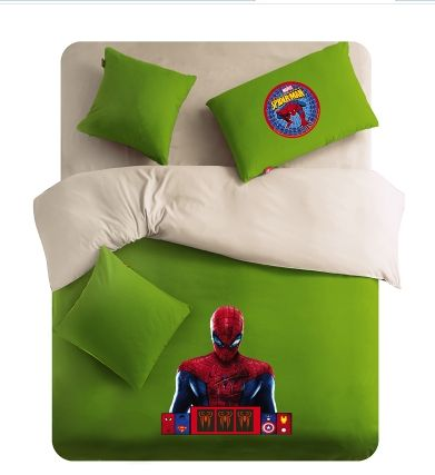 Yellow And Green Spiderman Logo Polyester-wool Spiderman Bedding for Boy
