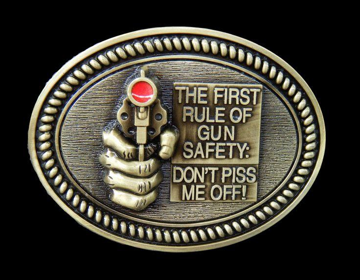 Humor Gun Safety Rules Guns Belt Buckle