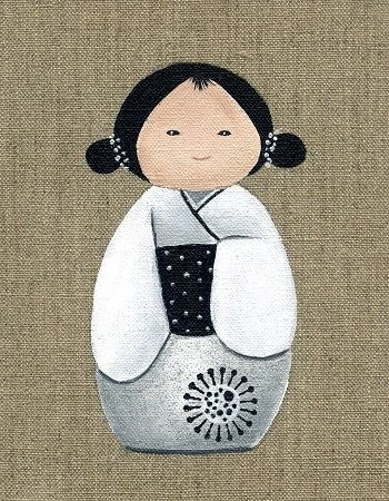 toile originale kokeshi broder et coudre isbn 9782915667738 les kokeshis sont de petites. Black Bedroom Furniture Sets. Home Design Ideas