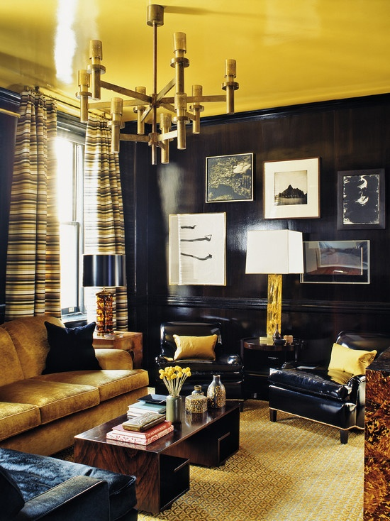 Eclectic Design, Pictures, Remodel, Decor and Ideas: Yellow Ceilings, Design Interiors, Interiors Design, Eclectic Living Rooms, Steven Gambrel, Lacquer Wall, Design Home, Black Wall, Dark Wall